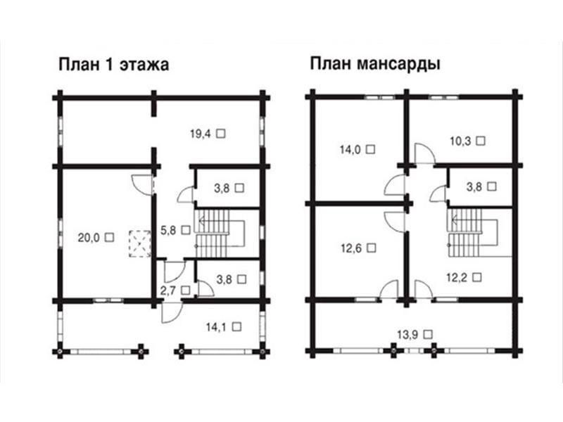 Пример плана бревенчатого дома с мансардой