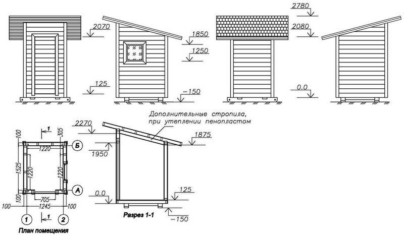 Пример проекта деревянного туалета