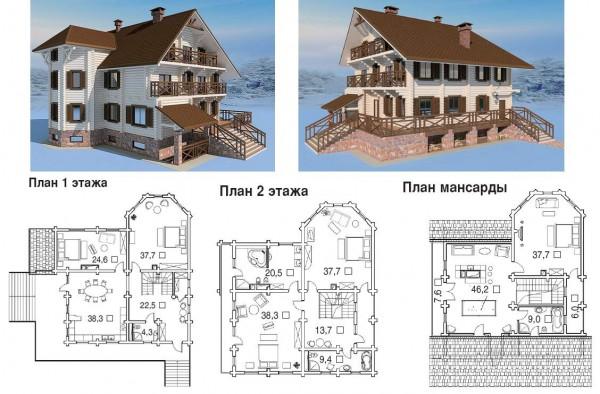Пример проекта дома из дерева