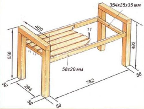 Размеры скамейки со спинкой своими руками фото 324
