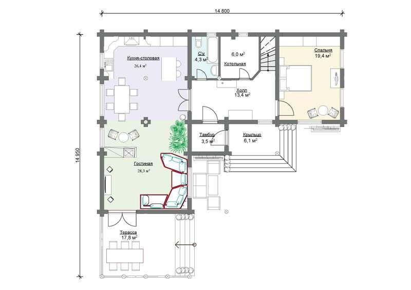 Пример проекта углового дома