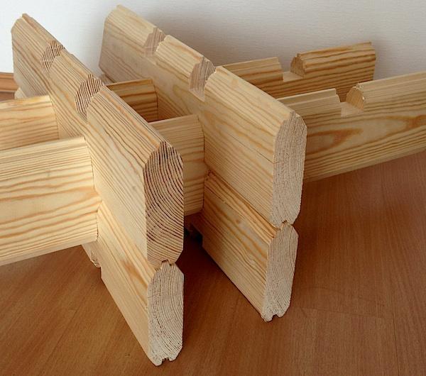 Пример соединения«двойного бруса» при строительстве стен