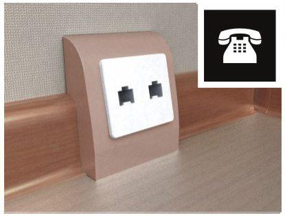 Плинтусная коробка под розетки - пример телефонного разъема