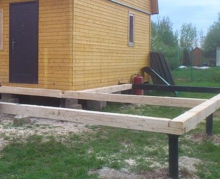 Пример того, как делается пристройка на винтовых сваях к деревянному дому