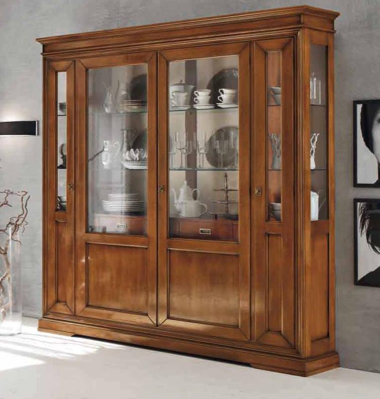 Пример того, как выглядят классические витрины для гостиной из дерева