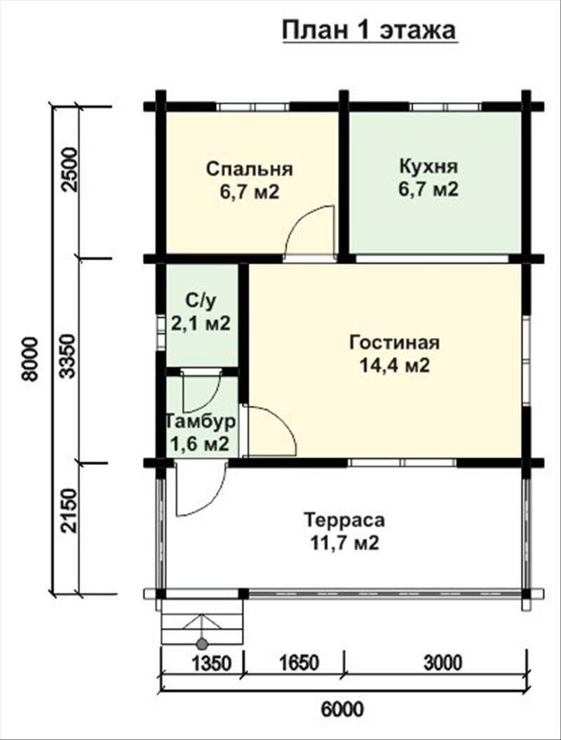 Пример того, как выглядят проекты деревянных дачных домов 6х8