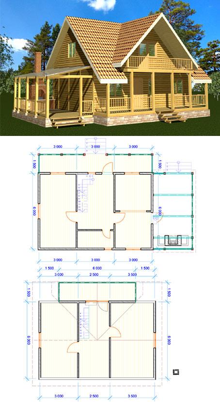 Пример того, как выглядят проекты деревянных дачных домов с мансардой