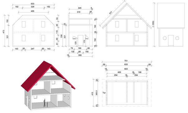 Проект домика с двускатной крышей