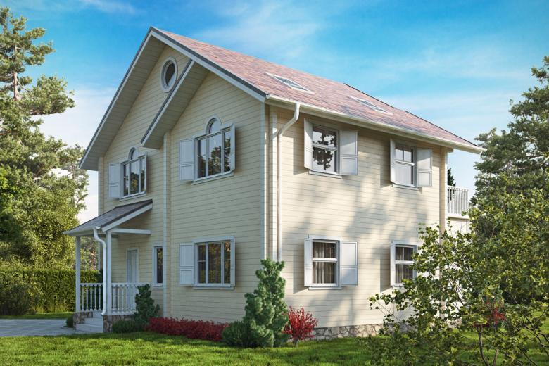 Проект двухэтажного дома 10х10 из брусана загородном участке