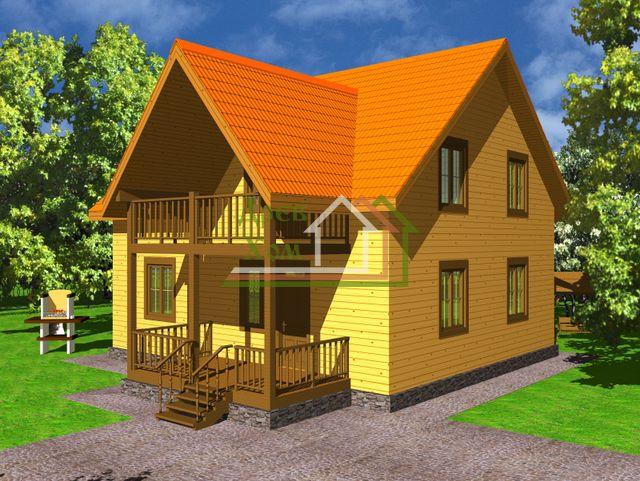 Проект двухэтажного дома из бруса 9х10с балконом