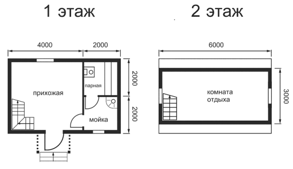 Проект двухэтажного дома, совмещённого с баней