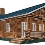 Проект одноэтажного дома из бревна на два крыла