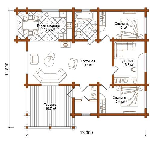 Проекты деревянных одноэтажных домов из бревна отличаются своей экологичностью