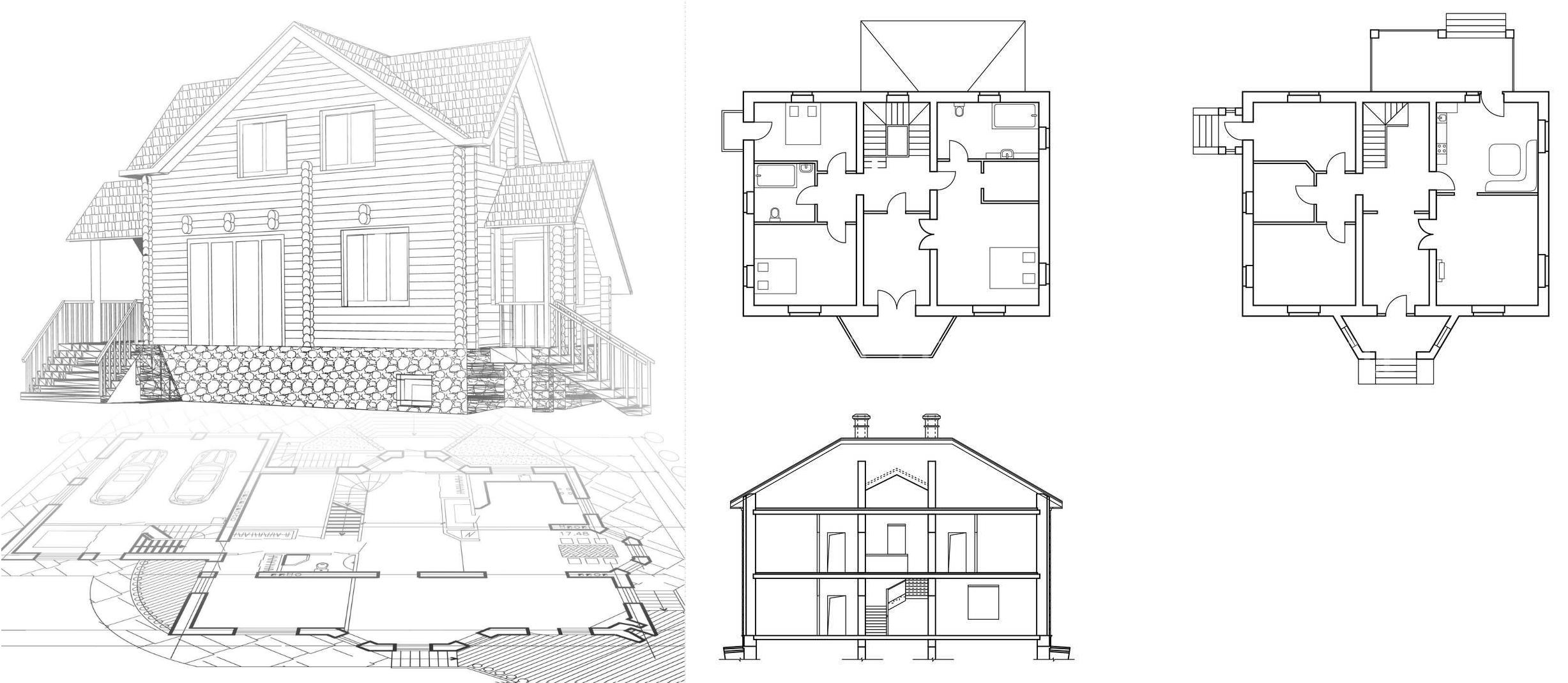 Проекты двухэтажных из брусастроений для семьи до 6 человек
