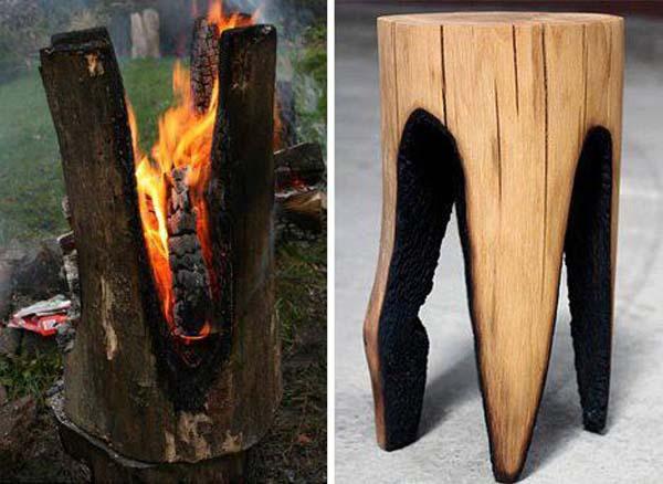 Процесс выжигания чурбака.