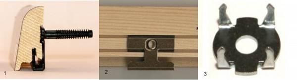 Разновидности клипс (1-паркетная шпилька; 2-клипса под паз; 3-пластина якорная)