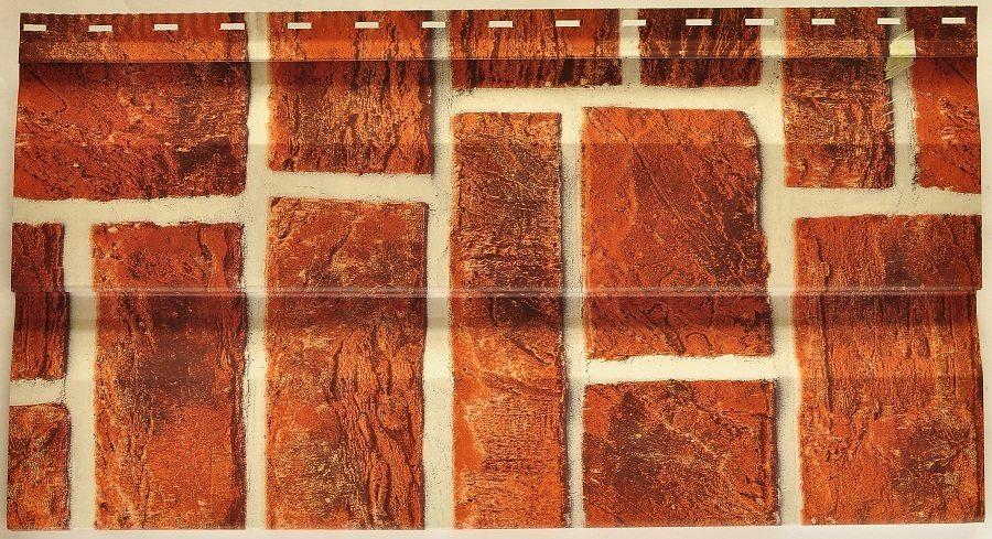 Сайдинг панели под кирпич, изготовленные из металла, выглядят примерно так.