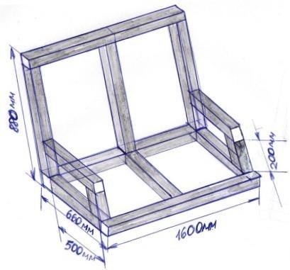 Схема каркаса сиденья со спинкой и подлокотниками