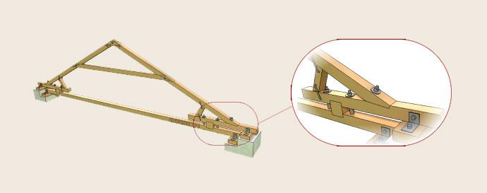 Схема крепления с использованием потолочной балки