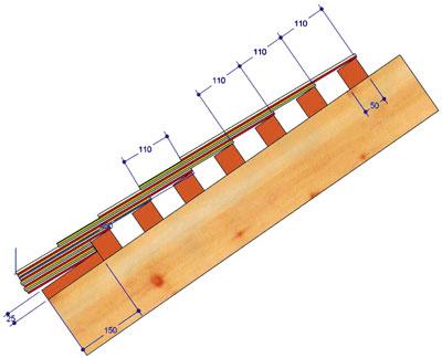 Схема обрешетки с ориентировочными размерами