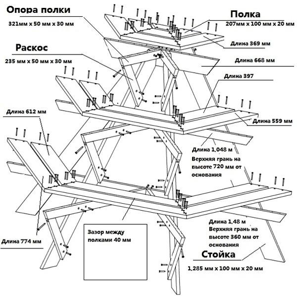 Схема одного из вариантов цветочной подставки.