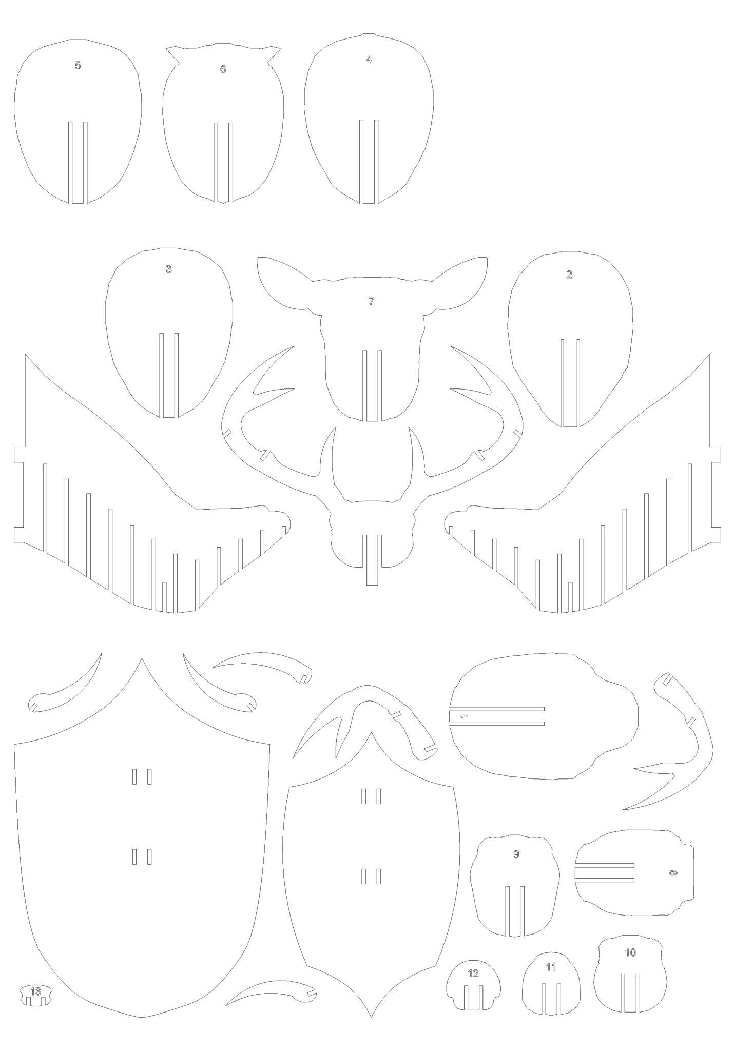 Схема с нумерацией деталей по порядку очередности при сборке