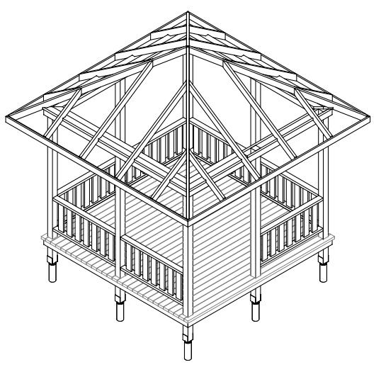 Схема сборки стропильной системы и боковых загородок