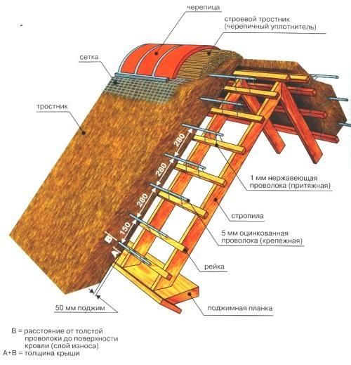 Схема укладки камыша на деревянные стропила
