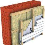 Схема - утепление кирпичного дома снаружи минватой под сайдинг