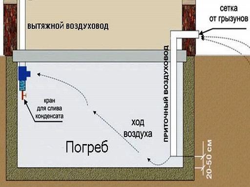 Схема воздухообмена в подвале.