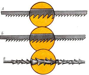 Сравнение конструкции пилки для дерева и металла (А и Б) и универсального полотна (В)