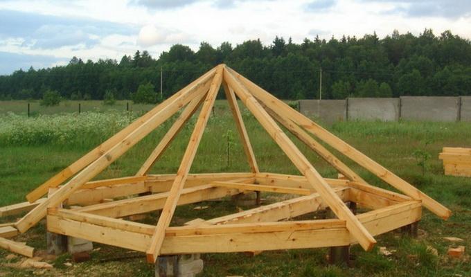 Строительство крыши беседки из дерева