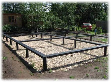 Свайно-винтовой фундамент 6х6 м с металлическим ростверком