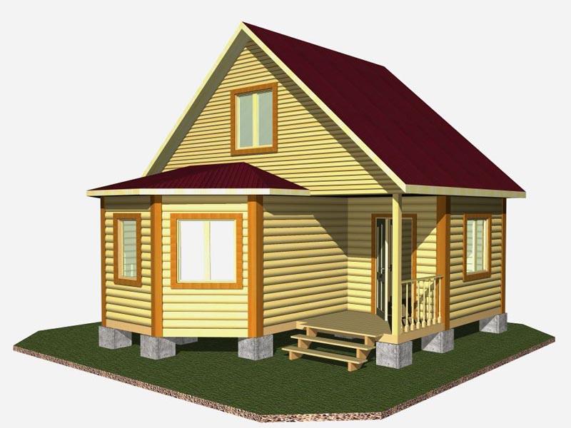 Так выглядят простые в реализации проекты дачных домов с эркером из бруса