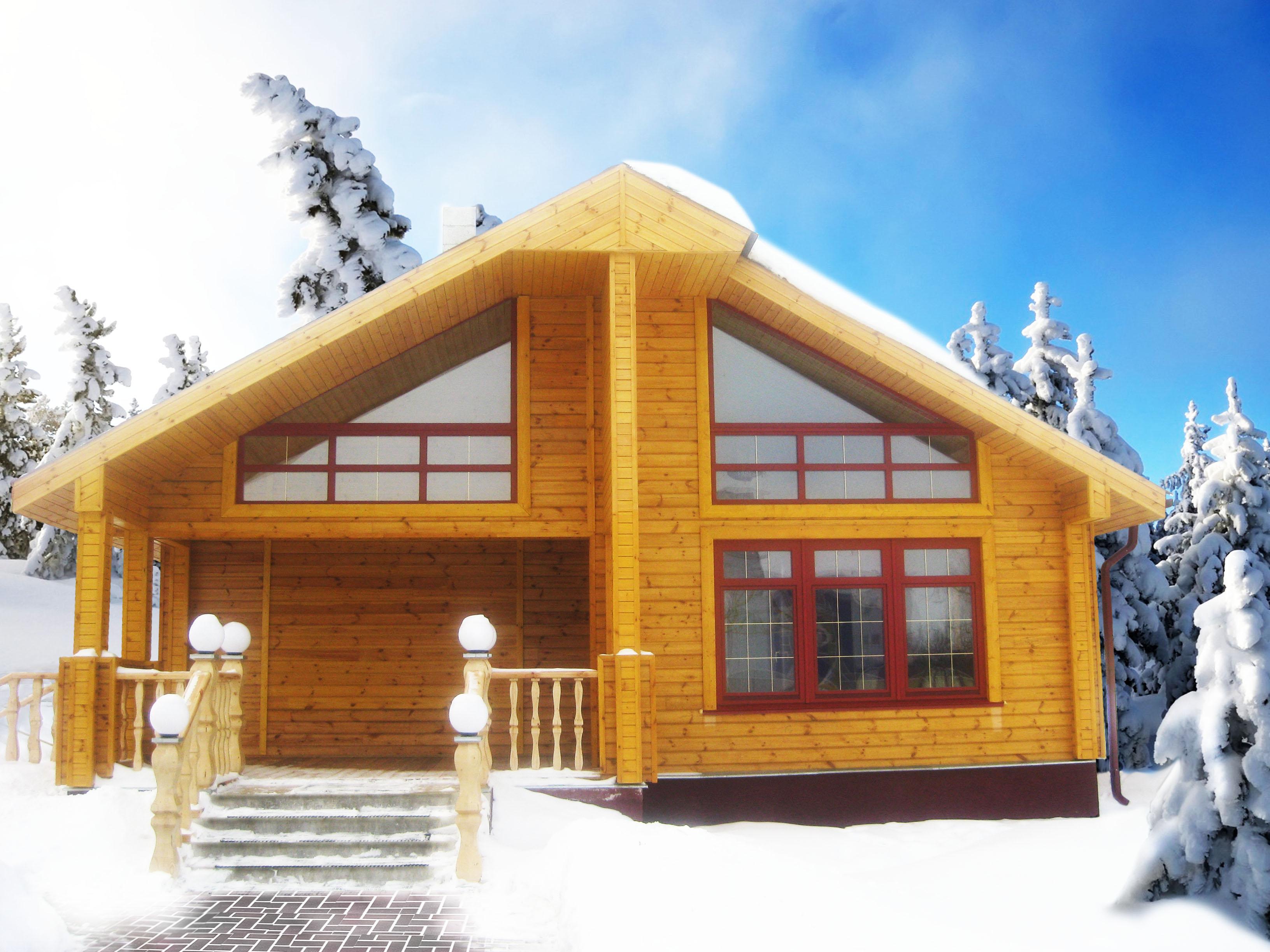 Теплый дом из дерева