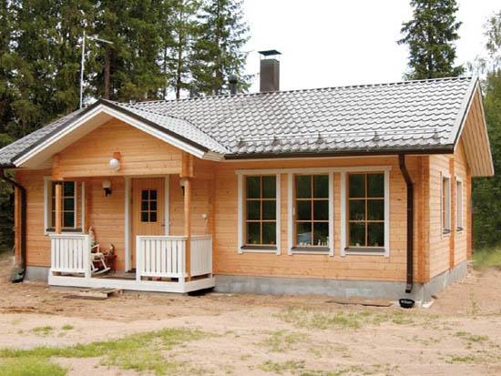 Типовой брусовой одноэтажный дом 6 на 9 для загородного участка