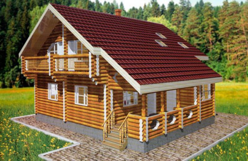 Трехмерная модель бревенчатого дома