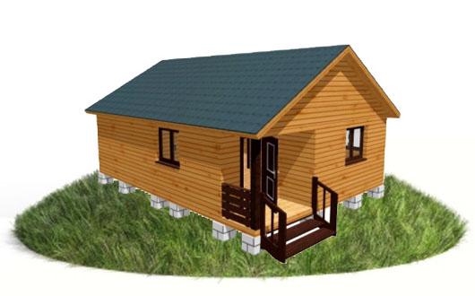 Трехмерная модель брусового дома 6х8 м