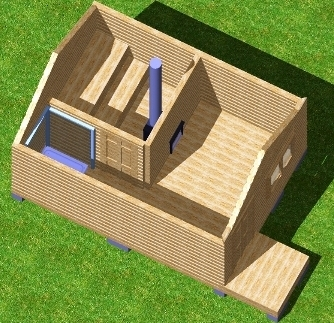 Трехмерный проект бани 3х4
