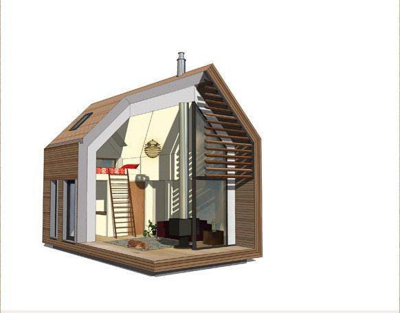 Трехмерный проект маленького деревянного дома
