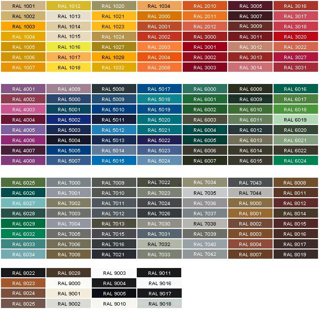 Цветовая гамма акриловых составов.
