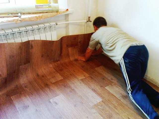 Линолеум укладка своими руками на деревянный пол фото 617