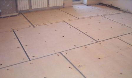 Уложенная фанера под линолеум на бетонный пол