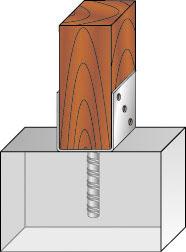 Вариант крепления ног рамы к бетонной опоре