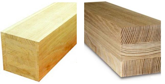 Виды бруса (слева направо): из цельного массива дерева, клееный