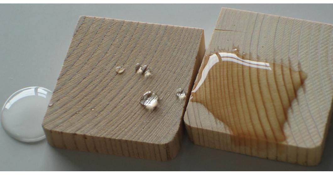 Впитывание влаги обработанной и необработанной древесиной