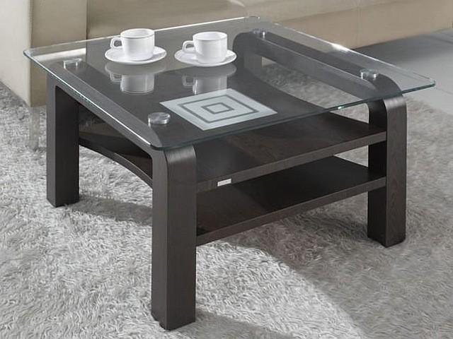 Журнальный деревянный стол со стеклом